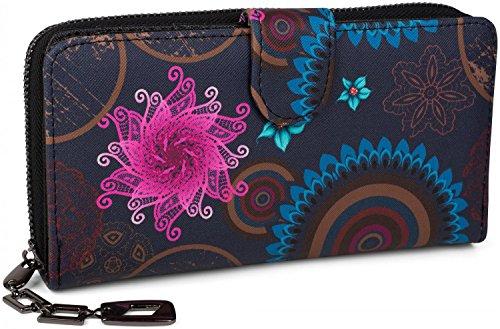 51+V+C7NxkL - styleBREAKER Geldbörse mit Ethno Blumen und Blüten Muster, Vintage Design, Reißverschluss, Portemonnaie, Damen 02040040, Farbe:Dunkelblau-Blau-Pink