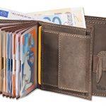 Woodland® – Super-Kompakte Geldbörse mit XXL-Kreditkartentaschen für 18 Karten aus naturbelassenem Büffelleder in Dunkelbraun/Taupe, Dunkelbraun